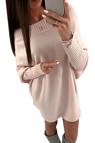 Pulls Casual Yacun Robe Hiver Femme Pull Longues Mini Robes Manches Pink de 18aqFw