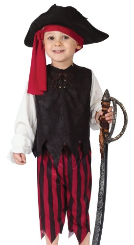[Fun World Costumes Baby Boy's Boy Caribbean Pirate Toddler Costume, Black/Red, Small 24MO-2T] (Toddler Boys Pirate Costumes)