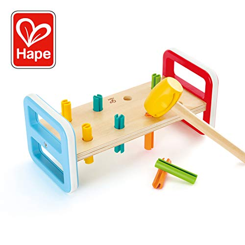 - Hape Rainbow Pounder| Pounding Bench Wooden Toy with Hammer, Multicolor