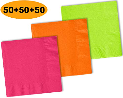 (150 Beverage Napkins, Electric Pink, Pumpkin Orange, Lime Green - 50 Each Color. 2 Ply Paper Cocktail Napkins. 5