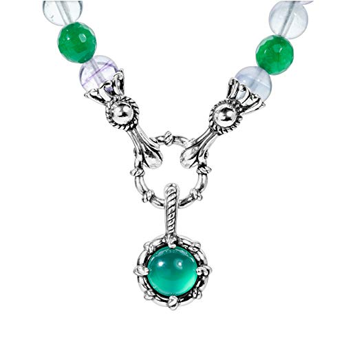 (Carolyn Pollack Sterling Silver Rainbow Fluorite, Green Agate, and Green Malachite Gemstone Beaded Necklace 18)