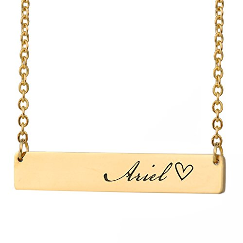 (HUAN XUN Ariel Name Silver Name Necklace Bar Initial Necklace Personal Jewelry Birthday Valentine Gift)