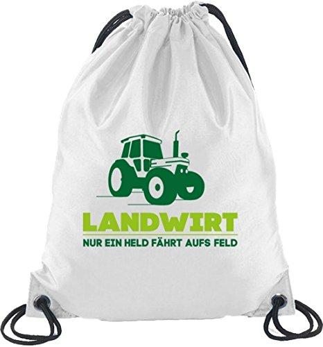 Landwirt Trecker, Traktor Bauer Turnbeutel Rucksack Sport Beutel Weiß