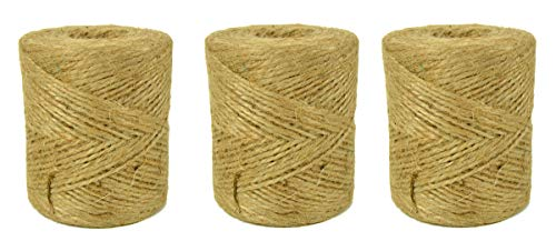 Natural Jute Twine String for Crafts 1200 Ft - 2ply Art and Crafting String - Gift Wrapping Rope by Monfor