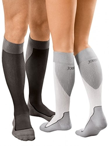 JOBST Sport Knee High 20-30 mmHg Compression Socks, Black/Cool Black, X-Large