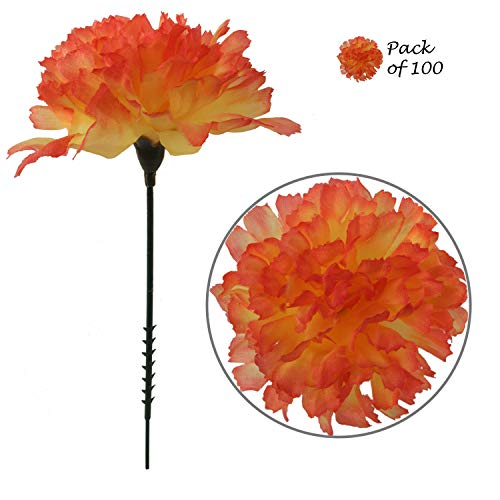 Larksilk Orange Silk Carnation Picks, Artificial Flowers for Weddings, Decorations, DIY Decor, 100 Count Bulk, 3.5 Carnation Heads with 5 Stems