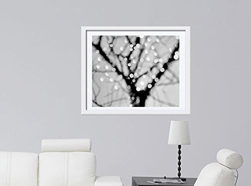 Abstract Art Photography, Lighted Tree Branches, Sparkling Bokeh Lights, Black and White Tree Decor, Modern Wall Print