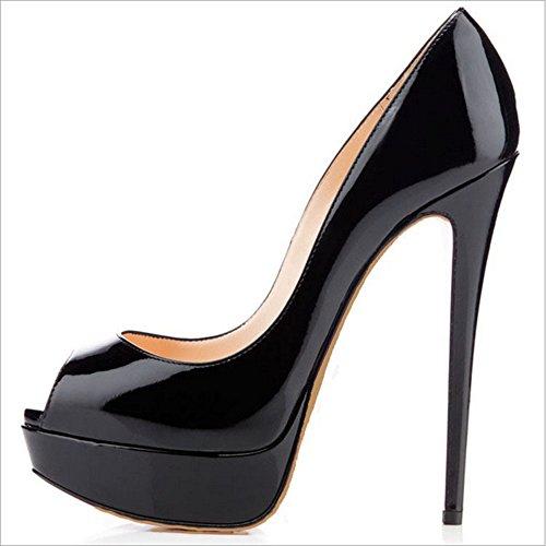 Pesce moda High scarpe estate matrimonio Donne GAOLIXIA Heels sera opzionali Primavera impermeabile piattaforma Candy da e grandi bocca High Heels dimensioni Black scarpe colore vestito pwqAY