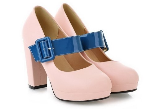 VogueZone009 Womens Closed Round Toe High Heel Chunky Platform Soft Material PU Solid Mary Jane Pumps, Pink, 5.5 UK