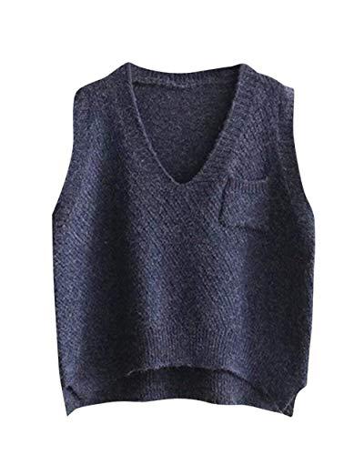 Hiver Manches Cou Pullover V sans El en Unie Gilet Automne Vintage Tricot Bouffant Couleur Femme Tricot qSOWIB