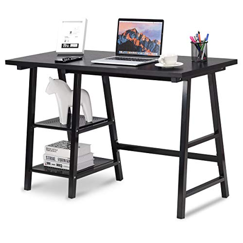 Tangkula Writing Computer Desk, Trestle Desk Study Desk, Laptop PC Desk, Modern Wood Vintage Style Reversible Storage Shelf, Home Office Furniture Sturdy Table Study Table Black