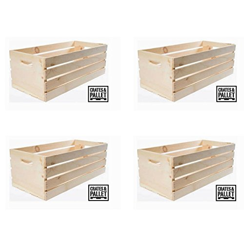 Extra Convenience Extra Large Wood Crate Natural Finish – SET of 4