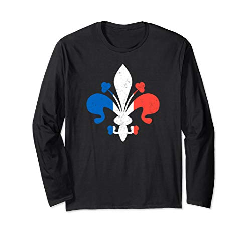 Fleur de Lis in French Flag Colors Bastille Day Long Sleeve T-Shirt ()
