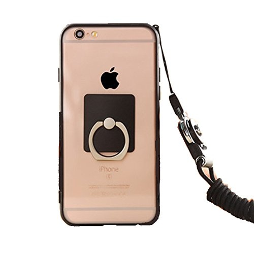 Anti-drop Protection Shell Case with Adjustable Detachable Neck Lanyard Hanging Neck Strap Lanyard and Ring Holder for Iphone (Black for iPhone 7)