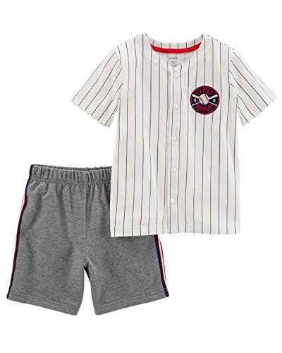 Carter's Boys' Newborn-5T 2 Piece Short Sleeve Sunglass Pocket Polo and French Terry Shorts Set (6 Months, Heather/Baseball)