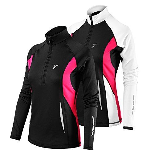 Thorogood Sports Winter Run - Damen Langarm-Laufshirt mit kurzem Reißverschluss - Schwarz/Weiß - S