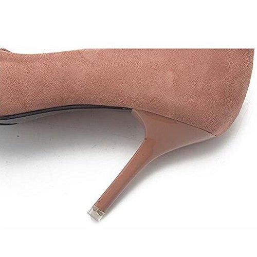 Hibote Mujeres Medio Talón Bombas Sexy Punta Dedo del Pie Trabajo Señoras Corte Zapato Desnudo