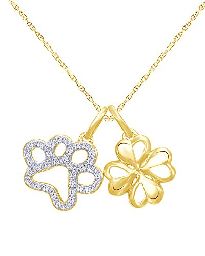 1/6 CT Natural Diamond Paw and Clover Charm Pendant Necklace in 14K Gold Over Sterling (Diamond Dolphin Charm)