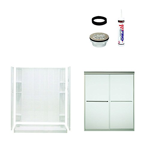 Sterling Plumbing 7213-5475NF Ensemble Shower Package Tiled Wall 60-Inch x 34-Inch x 75-3/4-Inch with Frosted Door Drain Kit, White/Satin Nickel (Shwr Wall)