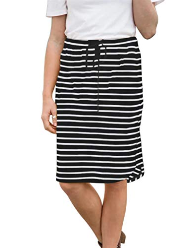 wenseny Womens Skirts Knee-Length Pencil-Skirts Solid Midi-Skirts for Ladies Stretchy Drawstring Daily Skirts (2XL (US 16-18), Black Stripe)