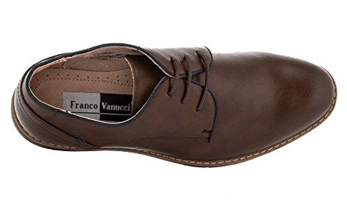Franco Vanucci Logan Mens Cap-toe Abito Stringate Oxford Scarpe Marrone Scuro (840003)