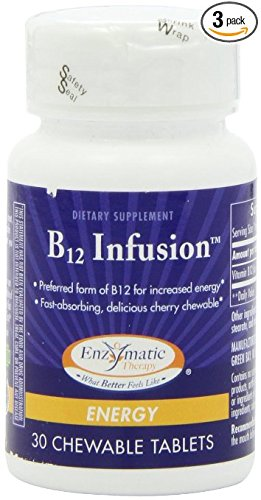 Enzymatic Therapy B-12 Infusion, 30 Chewable Tablets, (Pack of 3)
