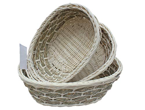 (ShopOnNet Rt450181-3: Handwoven Wicker Storage Baskets in Cream and Brown (Set of 3))
