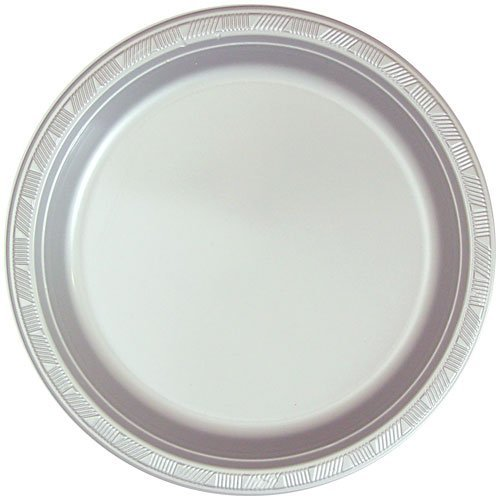 Top Hanna K. Signature Collection 50 Count Plastic Plate, 10-Inch, Silver free shipping