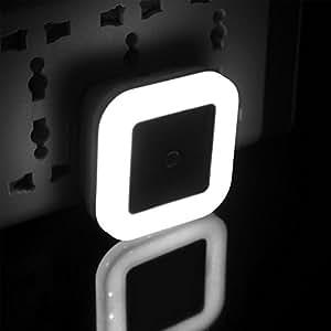 HuntGold nos enchufe Sensor de movimiento pasillo armario habitación de los niños noche cama lámpara auto luz LED blanco
