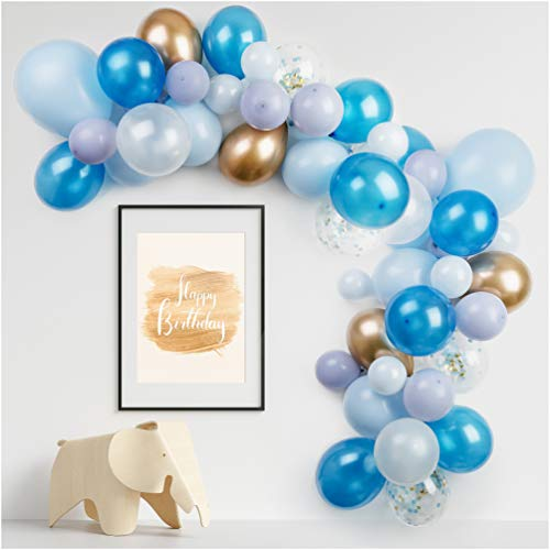 PapaKit Deluxe DIY Balloon Garland Set | 57 pc Assorted Balloons (10ft) | Decorating Strip, Glue Dots | Wedding Bridal Baby Shower Party Decoration (Sparkling Sapphire Blue)]()