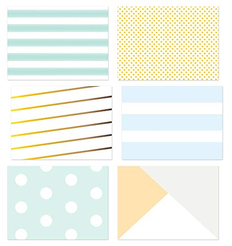 36 Pack Blank Note Cards, 6 All Occasion Polka Dot and Striped Designs, Greeting Card Bulk Box Set, Blue, Black and White Notecards, Blank Note Cards with Envelopes Included, 4.75 x 3.5 Inches (Box Note Set)
