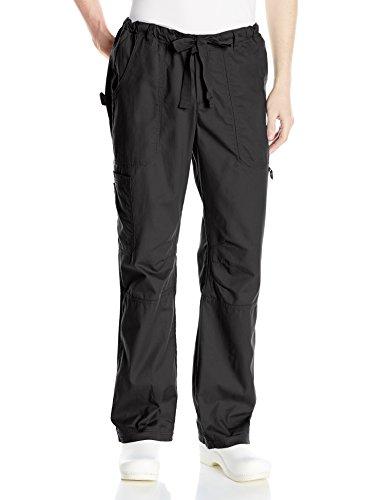 KOI Men's James Elastic Scrub Pants With Zip Fly and Drawstring Waist, Black, Large