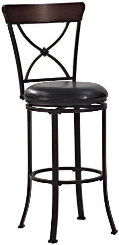 Crosley Furniture CF521230BK-BK Pruitt Swivel Bar Stool, 30-inch, Black with Black Cushion