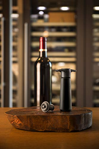 The Original Vacu Vin Wine Saver with 2 Vacuum Stoppers – Black