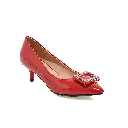 AllhqFashion Damen Spitz Zehe Mittler Absatz Lackleder Eingelegt Ziehen auf Pumps Schuhe Rot