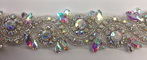 ModaTrims Hot-Fix or Sew-On Beaded Crystal Rhinestone Trim by Yard for Bridal Belt Wedding Sash (AB Crystal Rhinestones, Large Clear Crystals, Silver Beads, Silver Cups, 1 Yard x 1.5 Inch ()