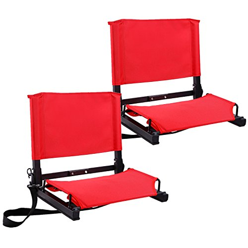 Ohuhu Stadium Chairs /Stadium Seats (Red, 2-pack)
