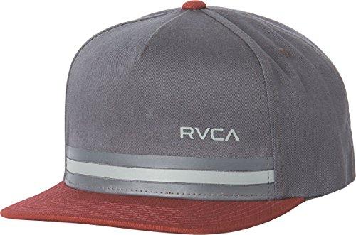 rvca-mens-barlow-twill-snapback-hat-grey-red-one-size