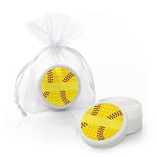 Grand Slam - Fastpitch Softball - Lip Balm Birthday Party or Baby Shower Favors - Set of 12 -
