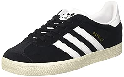 Adidas Youth Gazelle Black White Suede Trainers 5 US
