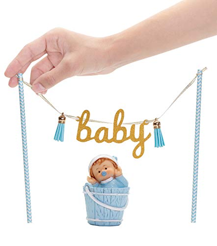 Baby Shower Cake Topper for Boy - Blue Decoration   Hanging Glittery Decorations: Gold