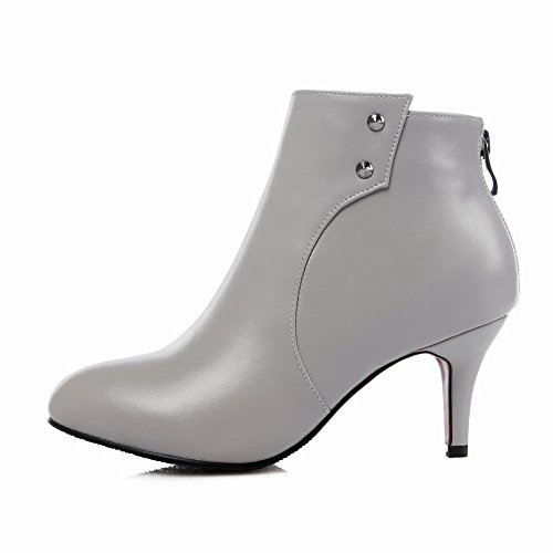 Stiletto Heel High Mee High Grey Shoes Western Chic Ankle Boots xqx6UwP