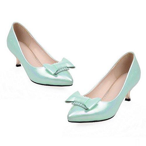 Allhqfashion Donna Punta A Punta Tacco Gattini Morbidi In Materiale Solido Pull-on Pumps-shoes Verde