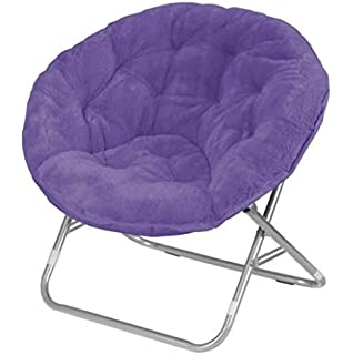 Amazoncom Mainstays Faux Fur Saucer Chair Purple Kitchen Dining
