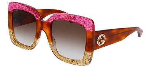 Gucci 0083 002 Fuchsia Havana Gold Glitter GG0083S Sunglasses
