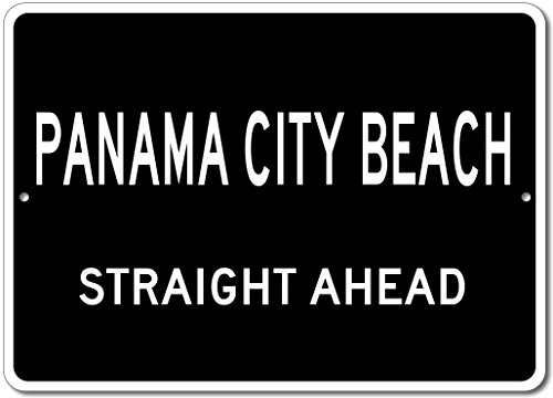 Custom Aluminum Sign - PANAMA CITY BEACH, FLORIDA US City Straight Ahead Sign - Black - - Shops Beach City Panama