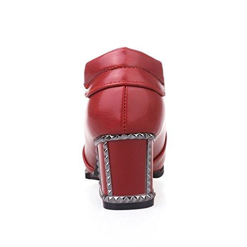 Allhqfashion Womens Wees Gesloten Teen Pull-on Pu Solide Kitten-hakken Pumps-schoenen Rood