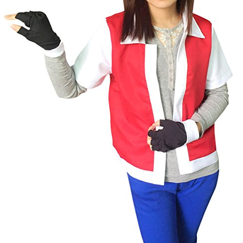 Quesera Women's Pokemon Ash Costume Adult Halloween Anime Cosplay Costume Outfit, Red, TagsizeM=USsizeXS