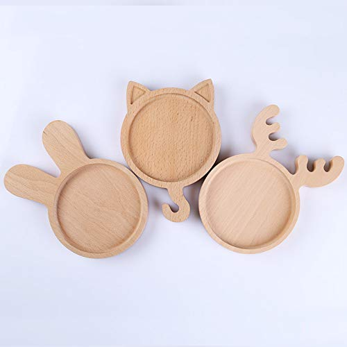 KathShop 2pc Wooden cartoon animals salad plates set for s buffet food serving tray dessert dishes platters dinnerware table decor -