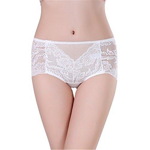YALL-La Sra verano ropa interior transpirable resumen la ropa interior de encaje correas White